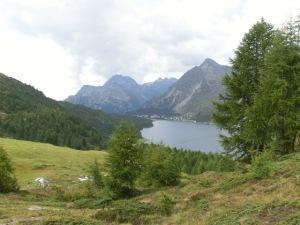 Blick auf den Lej da Segl, Schweiz, Alpine Bike Tour